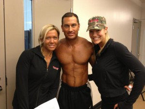 James Hergott, with trainer Nadine Williams (left) and fellow competitor Crystal Kenny (right)