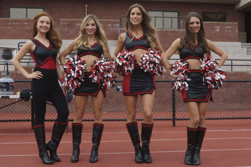 (L-R) Amanda Grace Cooper as Hanna Popkin, Brooke Butler as Tracy Bingham,  Reanin Johannink as Martha Popkin and Caitlin Stasey as Maddy Killian in the  horror comedy ?ALL CHEERLEADERS DIE,? an Image Entertainment/RLJ  Entertainment release. Photo credits: Kyle Kaplan and Vanessa Menendez.
